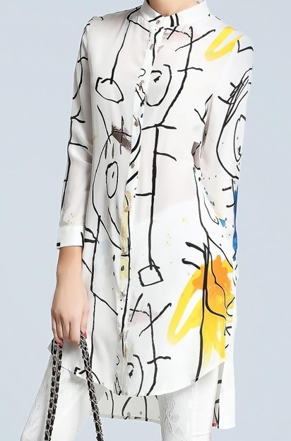 VIPME WHITE ABSTRACT PRINTED SILK LONG SHIRT