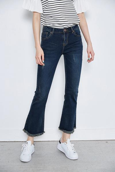 Genuine People Bell Bottom Crop Jeans