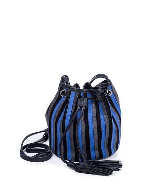 Linea Pelle Suede Bucket Bag Blue