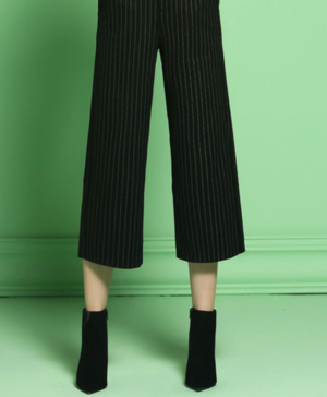 OneBuye Black Work Stripes Wide Leg Pant
