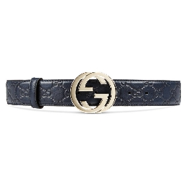 Guccissima belt with interlocking G