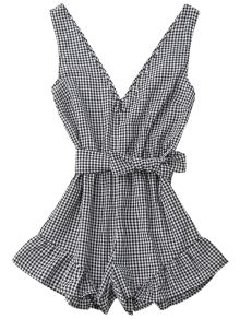 Zaful Gingham Romper