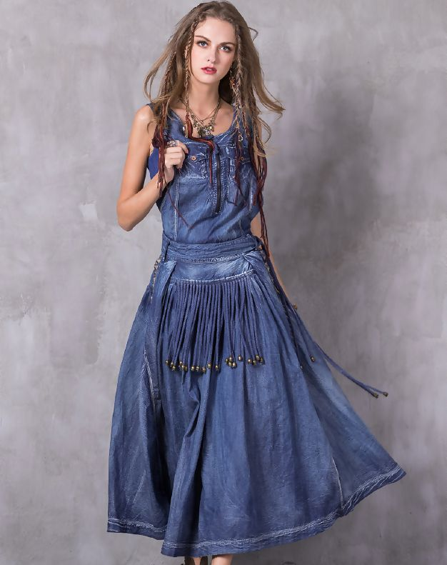 VIP me Blue Vintage Embroidery Belted Maxi Denim Dress