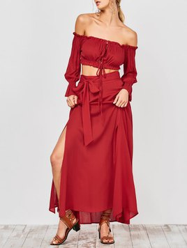 Zaful Cropped Off The Shoulder Top And Belted Slit A-Line Skirt - Red