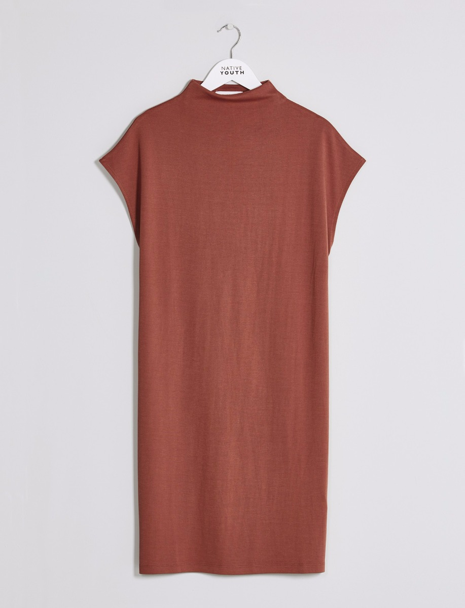 Native Youth Rust High Neck Block Jersey Dress