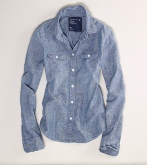 American Eagle Chambray Women Shirt