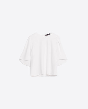 Zara White Cropped Top with Pleated Detail