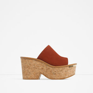 Zara Cork & Leather Wedges