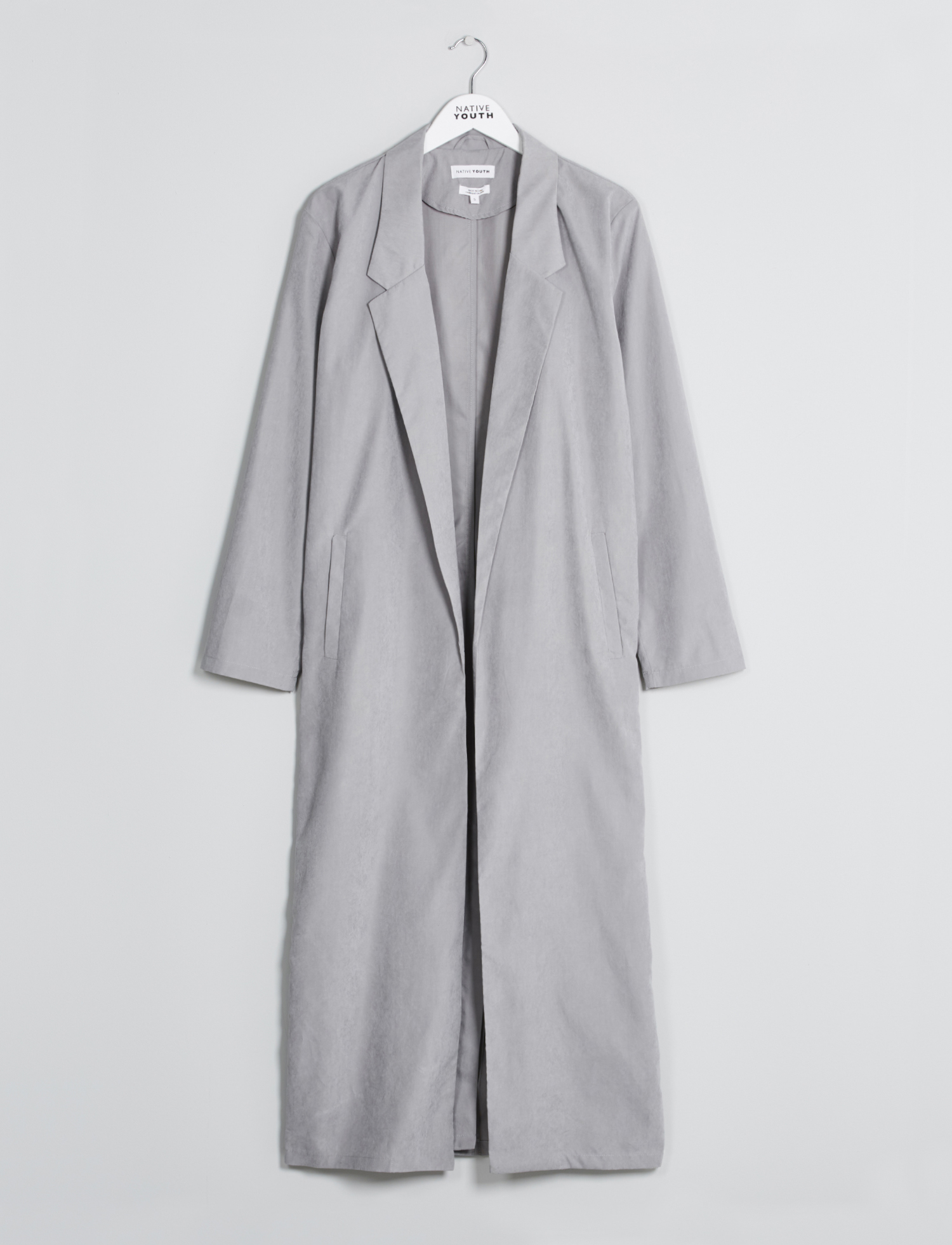 Native Youth Longline Grey Crescent Trench Blazer