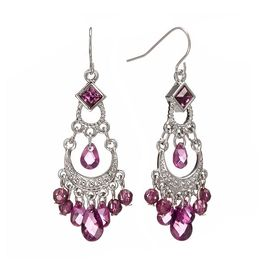 KOHL'S SILVER TONE BEAD CHANDELIER EARRINGS