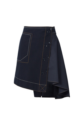 Derek Lam 10 Crosby Midnight Blue Assymetrical Skirt