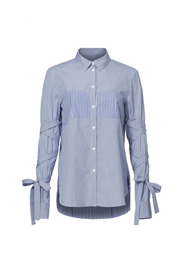 Tibi Striped Tie Sleeve Shirt