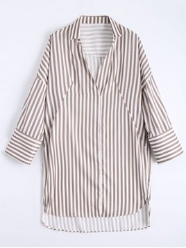 Zaful High Low Longline Striped Shirt
