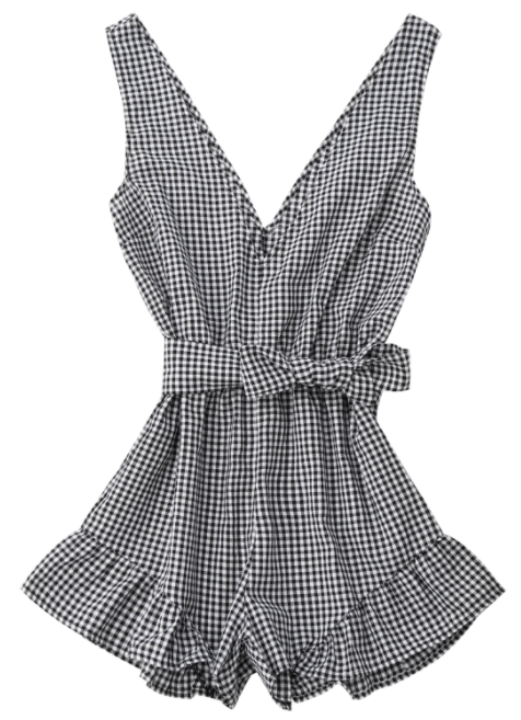 Zaful Checked Plunge Romper