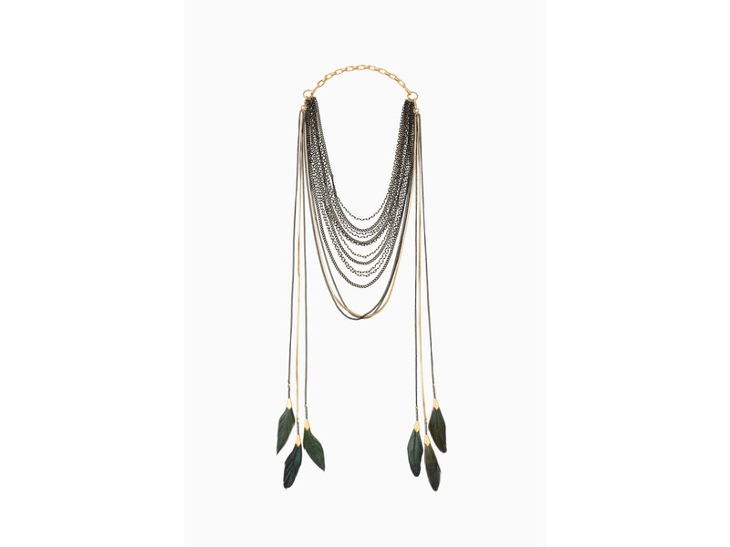 Stella & Dot Layered Feather Necklace