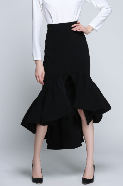 Dezzal Assymetric Black Mermaid Skirt