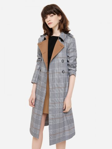 Rosegal Plaid Trench Coat