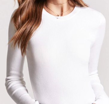 Forever 21 Ribbed Knit White Sweater