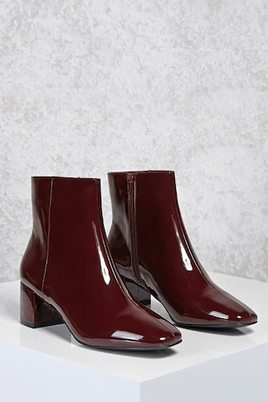 Forever 21 Patent Faux Leather Boots Burgundy