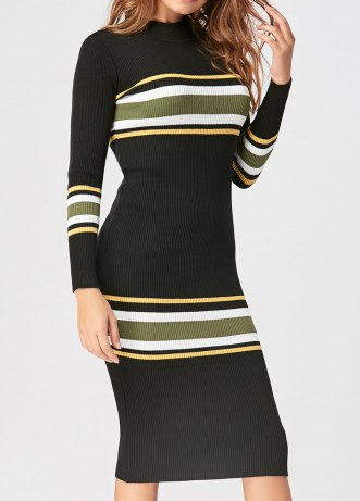 Rosegal Striped Mock Neck Casual Knit Dress