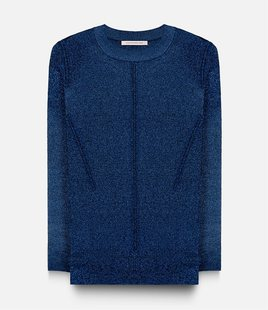 s a k u New York Metallic Knit Top Dark Blue