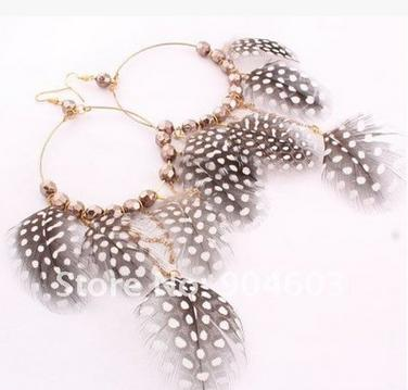 H&M Black Feather Polka Dot Hoop Earrings