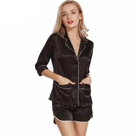 Victoria's Secret Black Satin Pajama Set