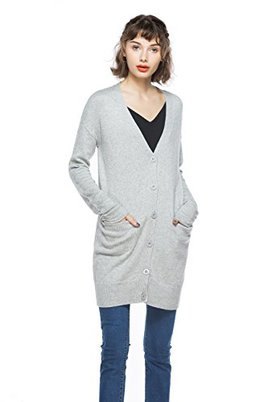 KNITBEST Women's Long Sleeve Button Down Casual Pocket Cardigan (Medium, Light Grey)