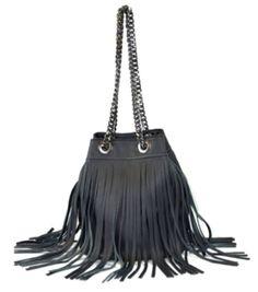 Alles Black Bucket Fringe Bag
