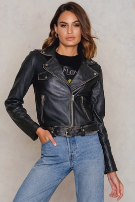 NA-KD Worn Look Leather Jacket
