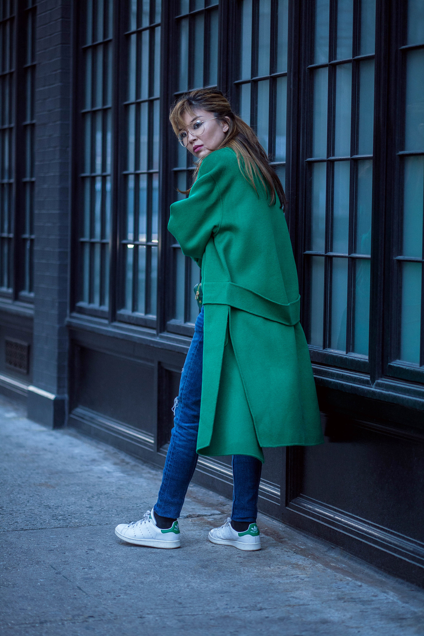 s a k u New York Long Classic Wool Green Coat