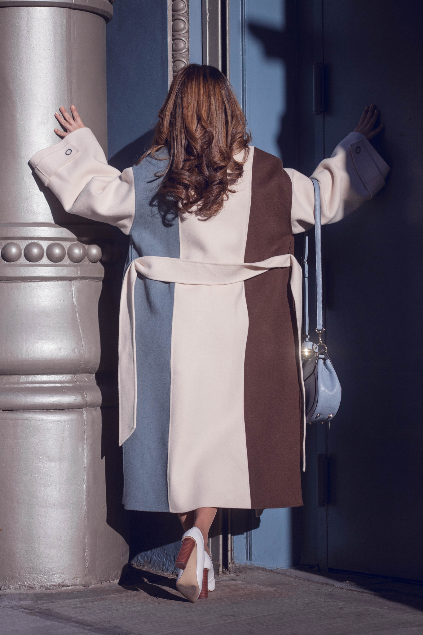 SAKU New York Color Block Long Wool Ivory Coat