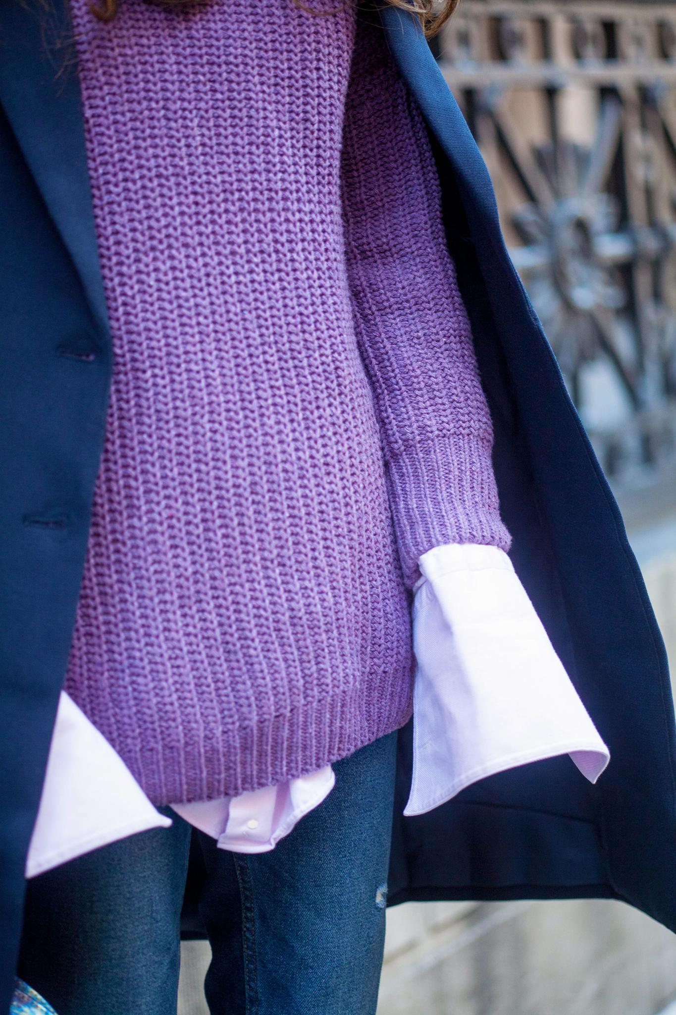 ROMWE Purple Drop Shoulder Textured Sweater