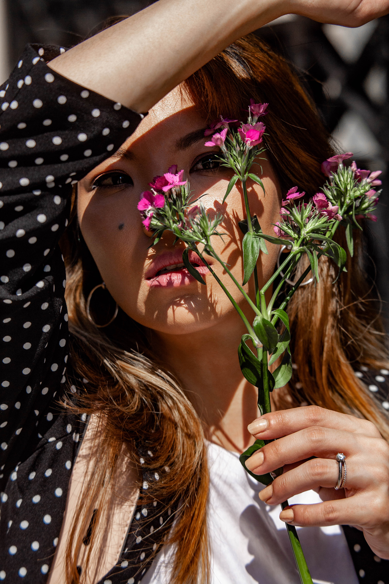Pink Flowers and Polka Dots Fashion Portrait