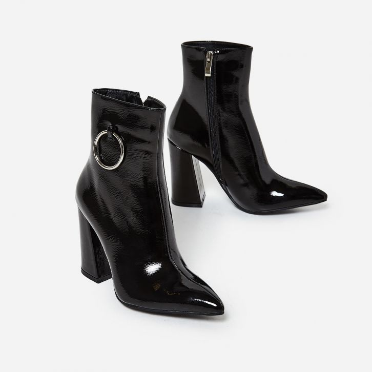 Ego Shoes Ruben Pull Ring Detail Ankle Boot in Black Patent