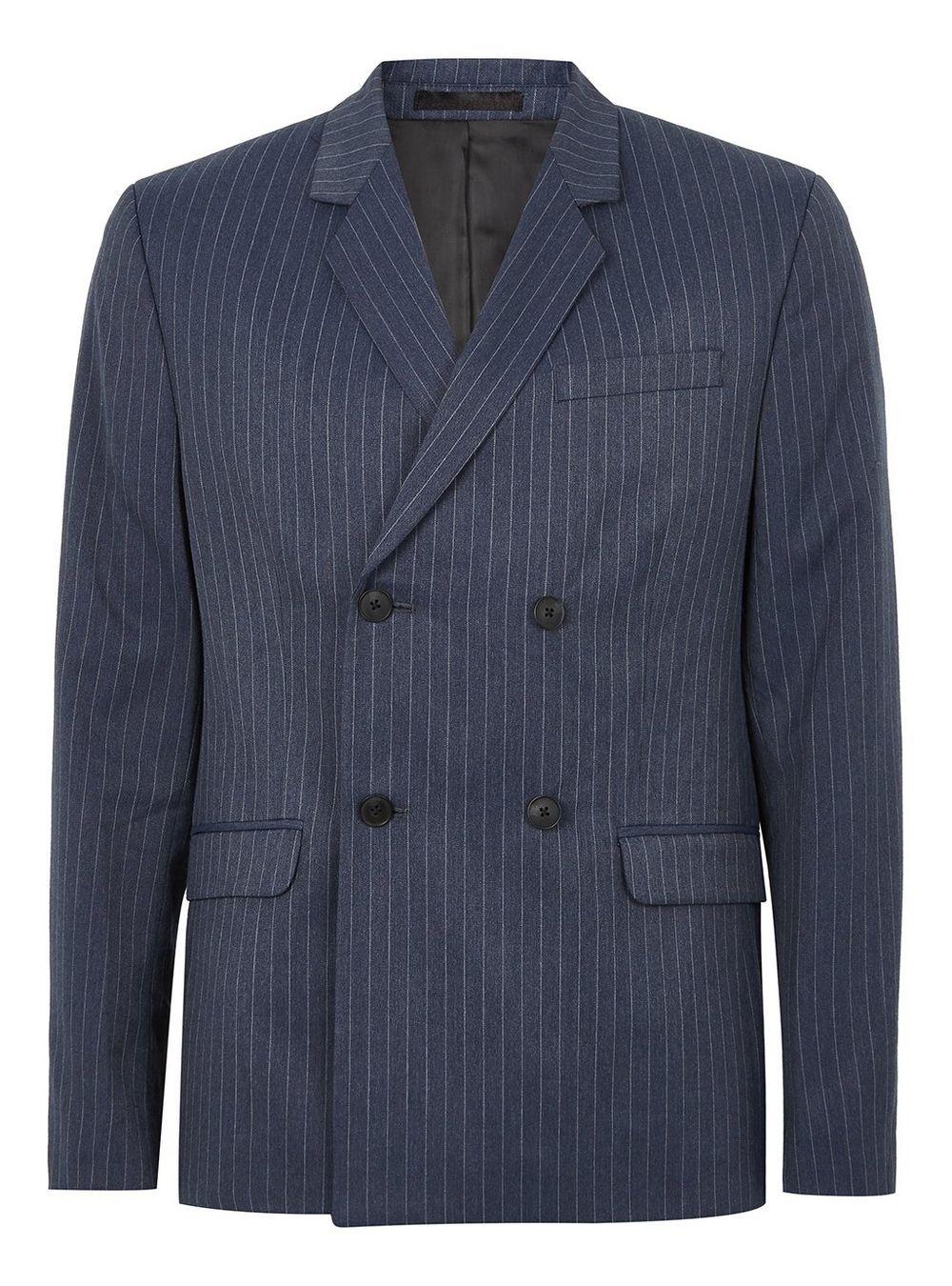 Topman Blue Pinstripe Jacket