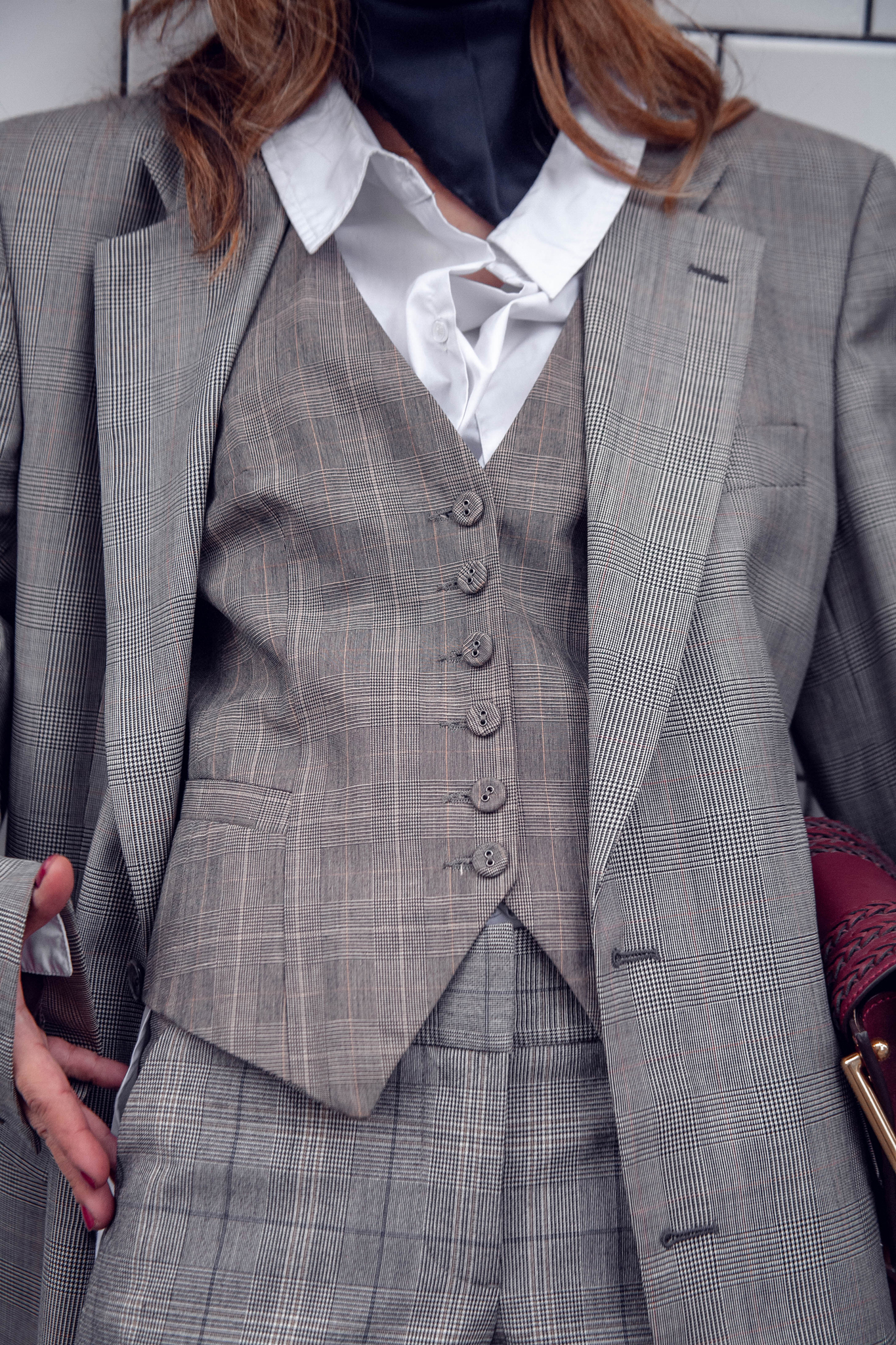 Plaid suit vest
