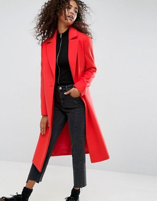 Red longline coat