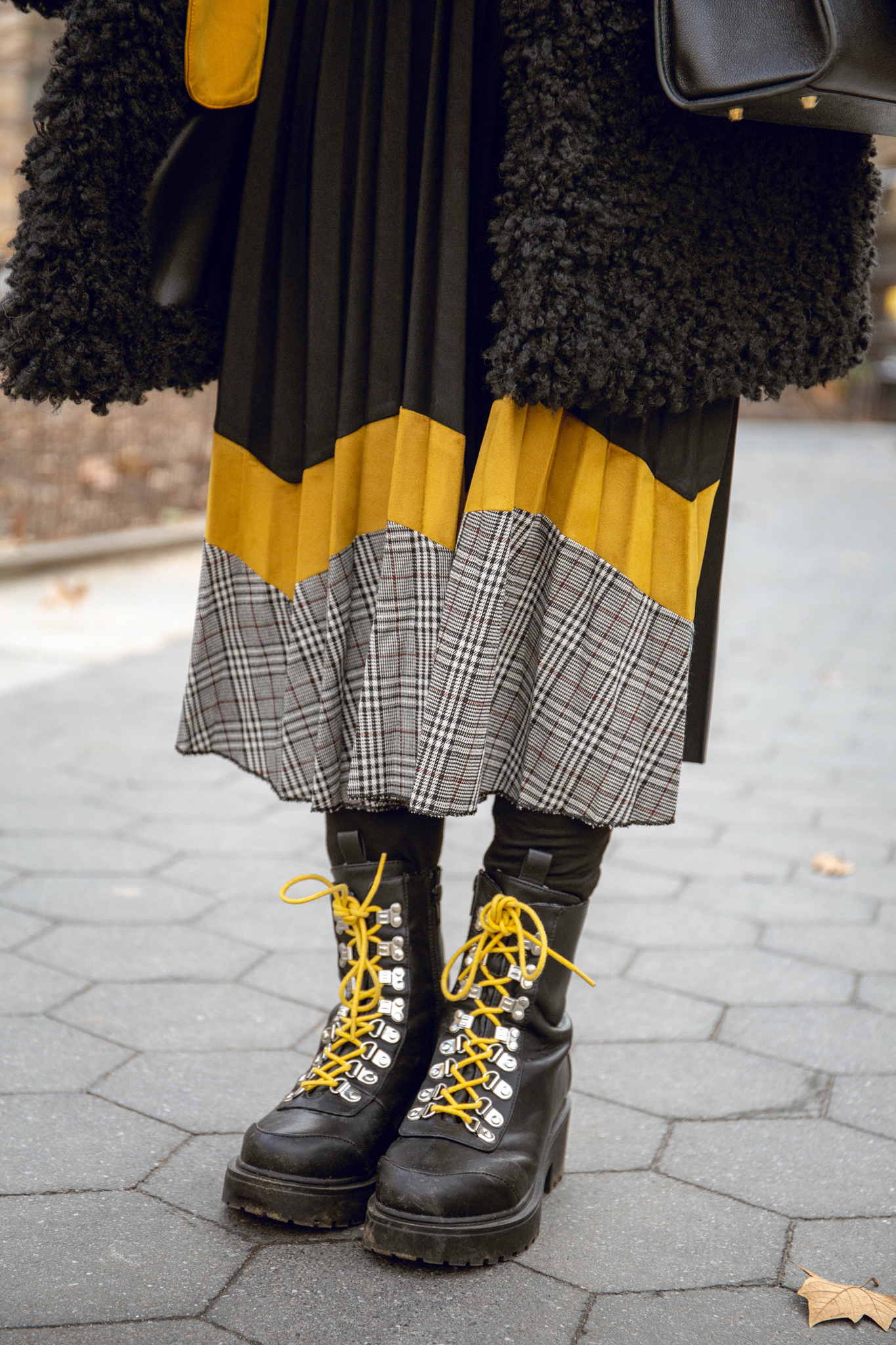 Pleated skirt with boots