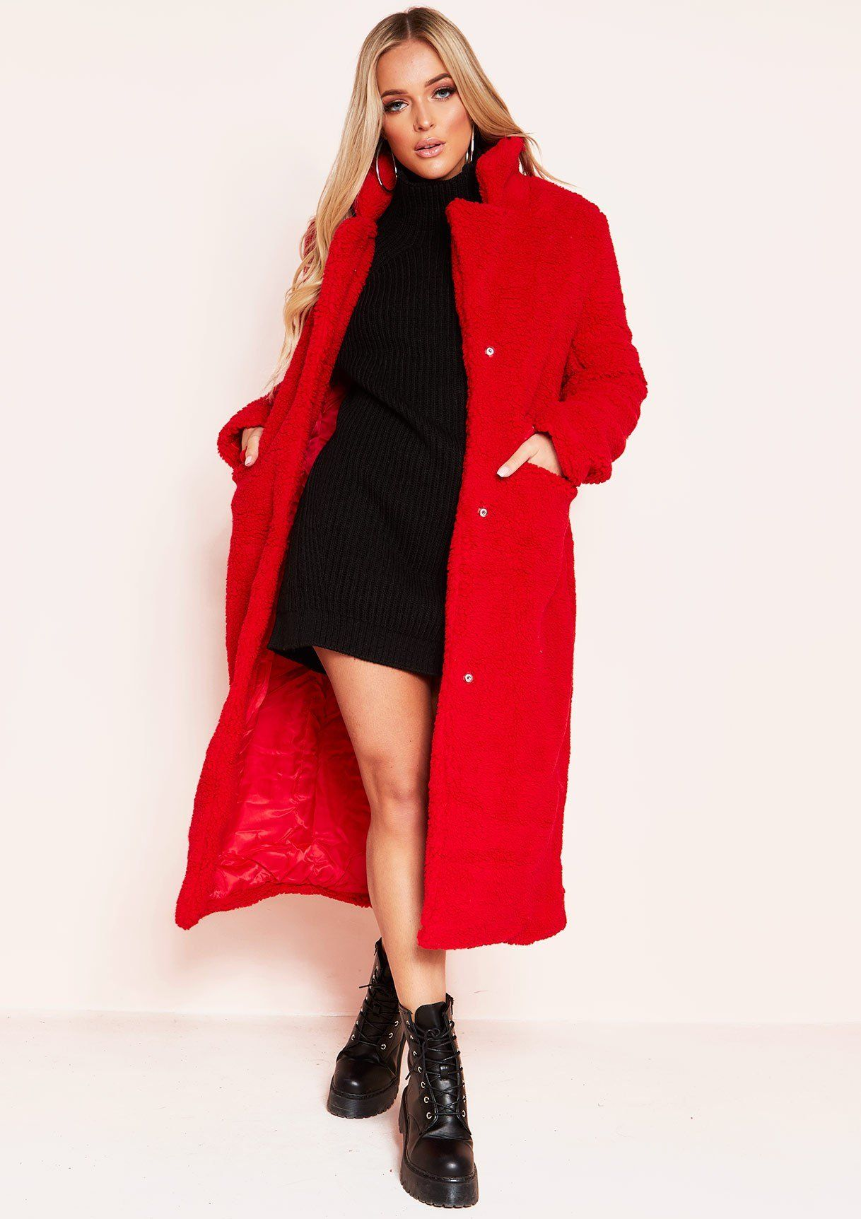 Red teddy coat