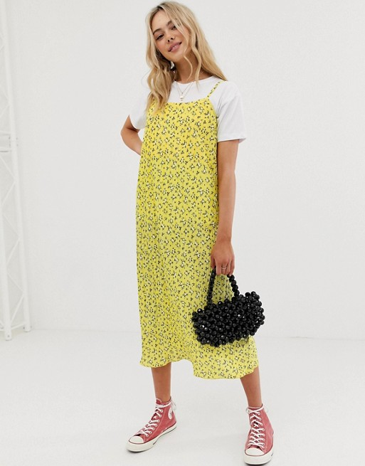 Yellow Floral Cami Midi Dress