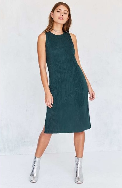Green Pleated Midi Dress