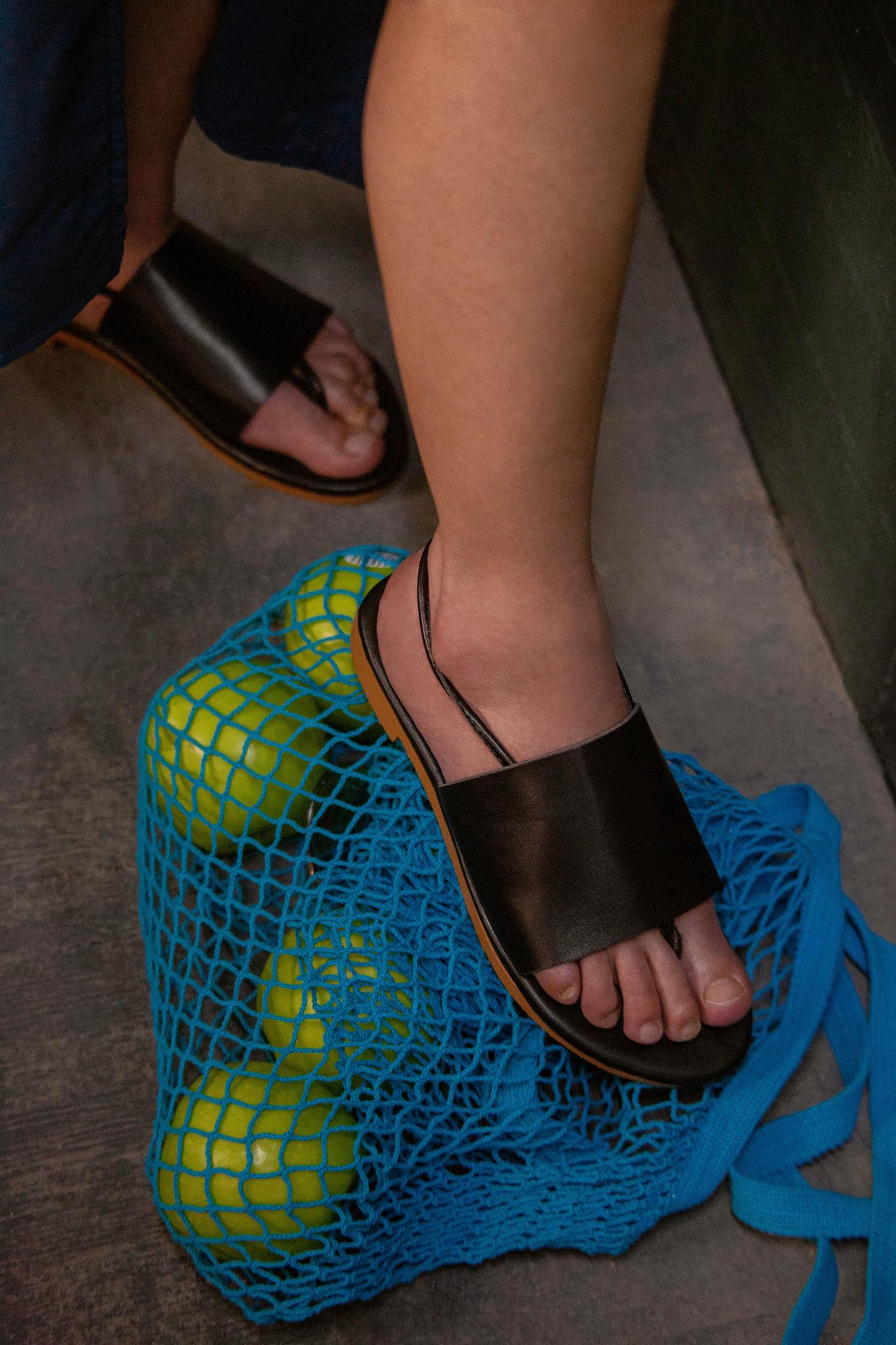 Black summer sandals