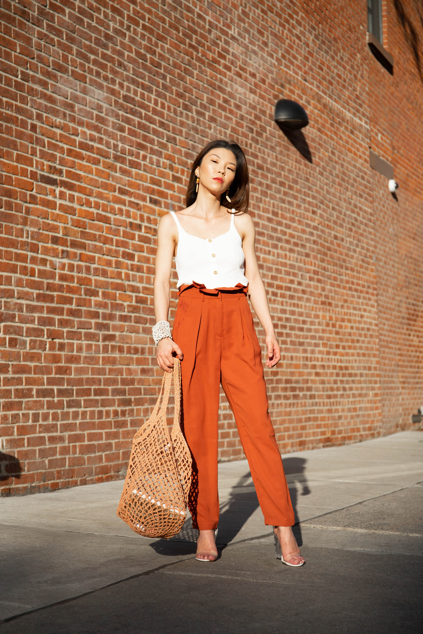 Rust-colored pants