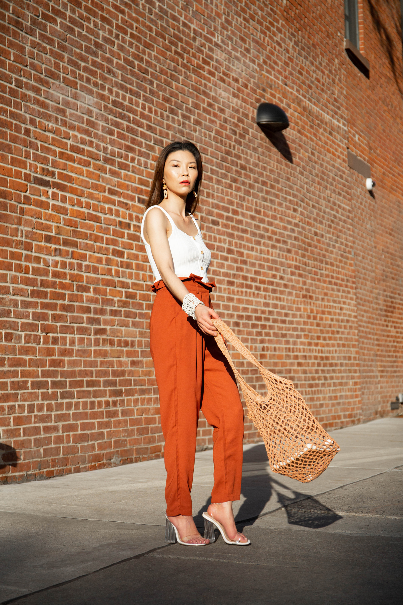 Rust-colored pants
