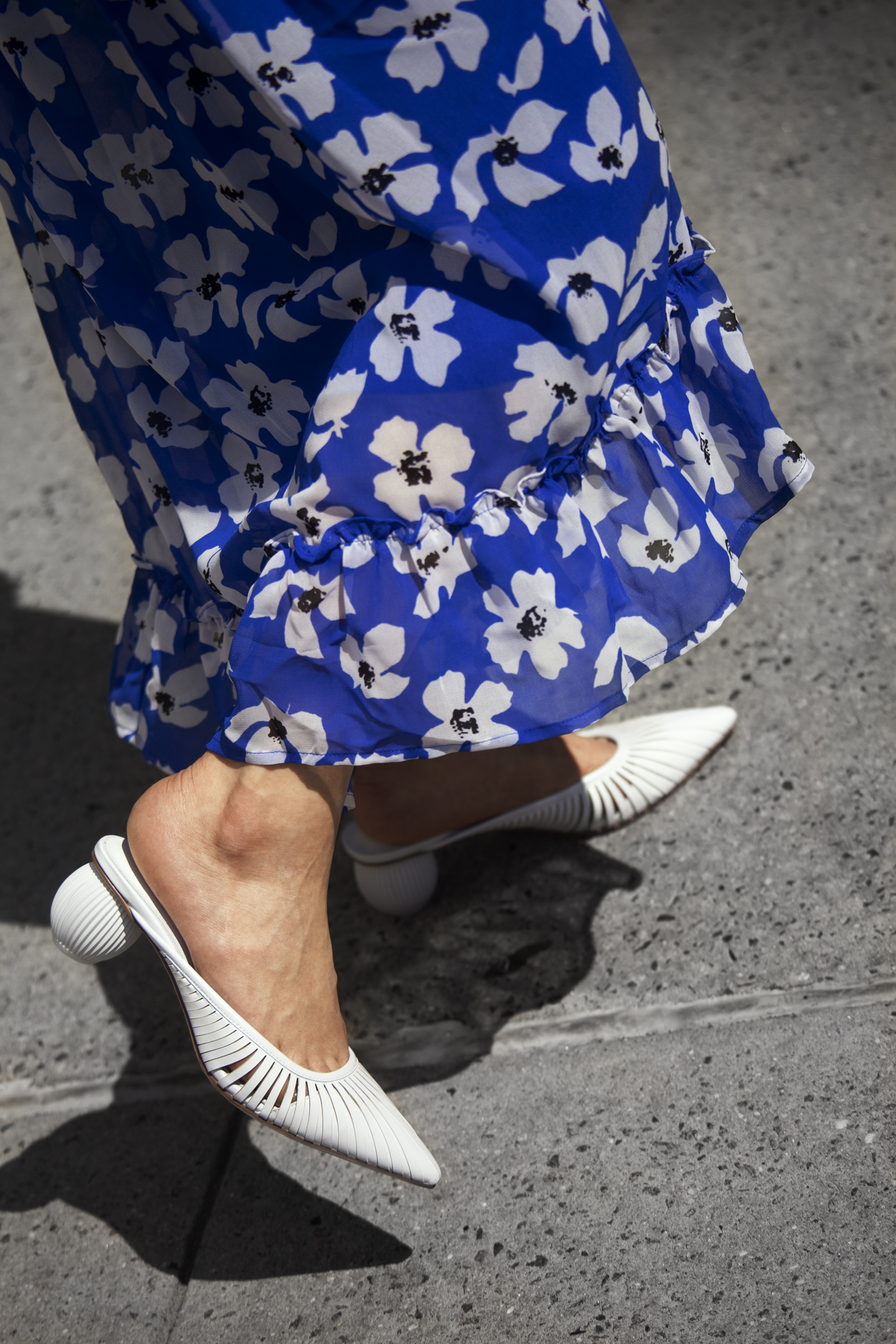 White pointed mules