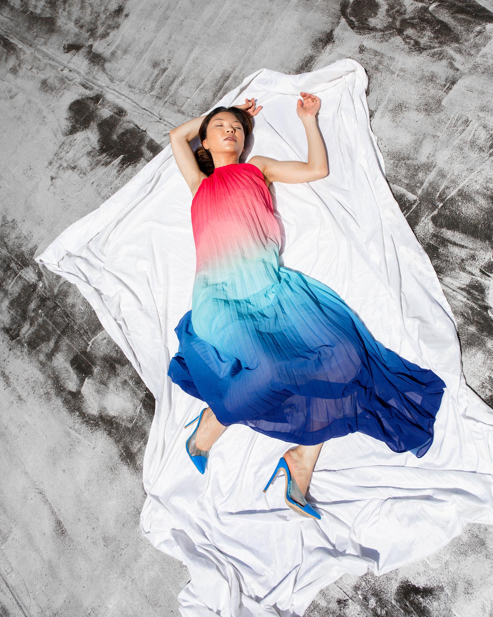 Pink blue dress