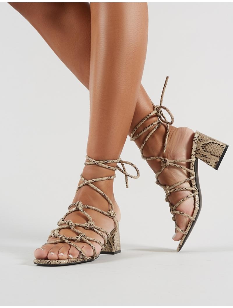 Snakeskin strappy sandals