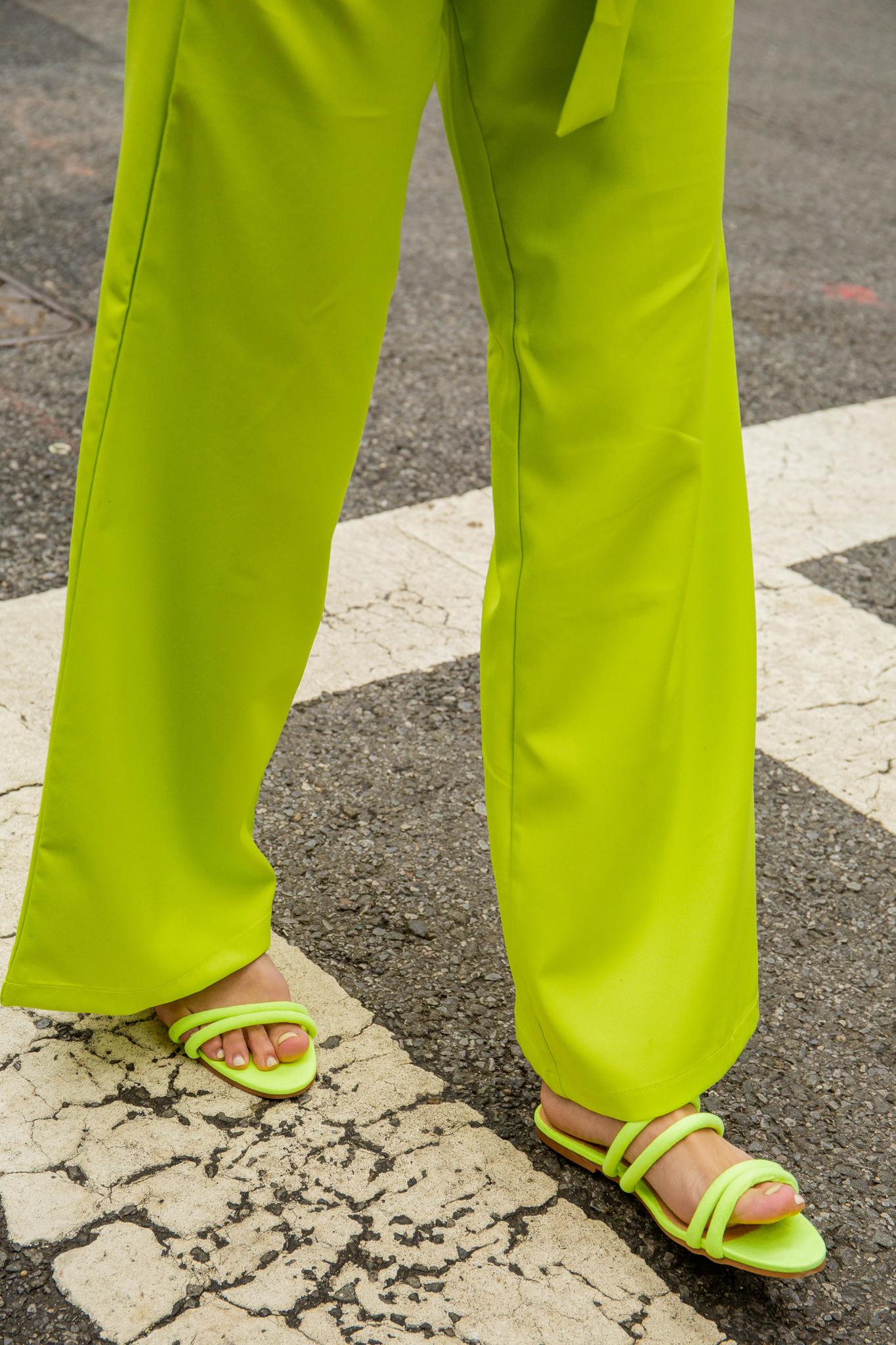Neon green sandals