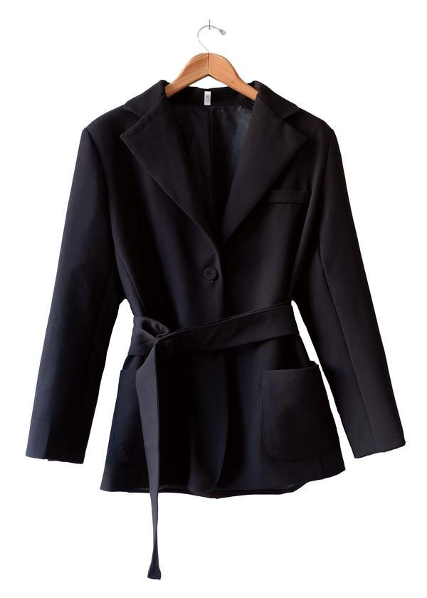 Black belted blazer